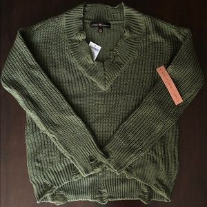 Olive green distressed sweater